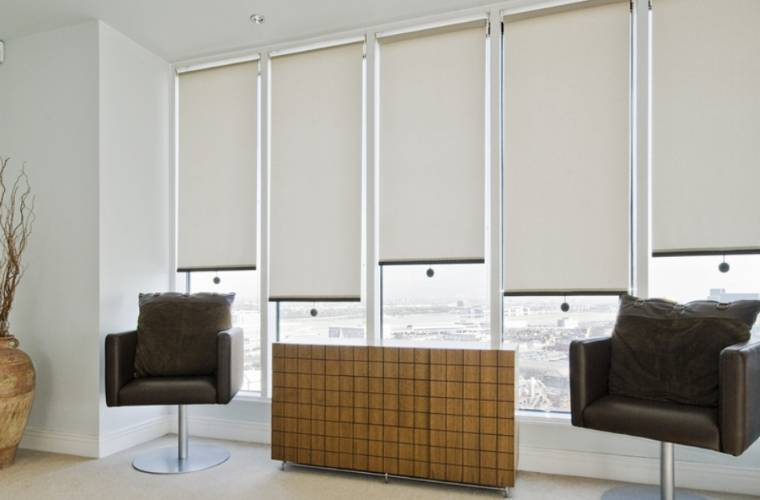 home office windows solar perforated blinds